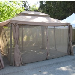 Set of mosquito nets for gazebo LEGEND 3x3m with plastic hooks, beige