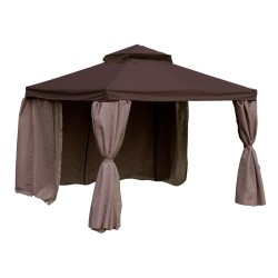 Gazebo LEGEND 3x3xH2 2,8m, aluminum frame, roof and side walls  polyester fabric, color  dark brown-beige