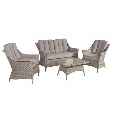 Aiamööblikomplekt PACIFIC patjadega, laud, diivan ja 2 tooli, alumiiniumraam plastikpunutisega, värvus  hallikasbeež