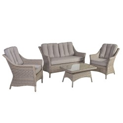 Garden furniture set PACIFIC with cushions, table, sofa and 2 chairs, aluminum frame with plastic wicker, color  greyish