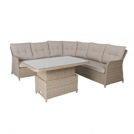 Aiamööblikomplekt PACIFIC patjadega, laud ja nurgadiivan, alumiiniumraam plastikpunutisega, värvus  hallikasbeež