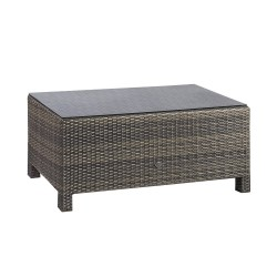 Coffee table SEVILLA 102x50,5xH43,5cm, table top  5mm clear glass, aluminum frame with plastic wicker, color  dark brown