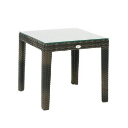 Side table WICKER 50x50xH45cm, table top  clear glass, frame  aluminum with plastic wicker, color  dark brown