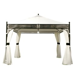 Gazebo SHANGHAI, 3,5x3,5m, steel frame, roof  PA coated polyester fabric, side walls  polyester, color  black-beige