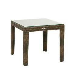 Side table WICKER 50x50xH45cm, table top  clear glass, aluminum framewith plastic wicker, color  cappuccino
