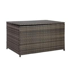 Cushion box WICKER 122x52xH62cm, steel frame with plastic wicker, color  dark brown