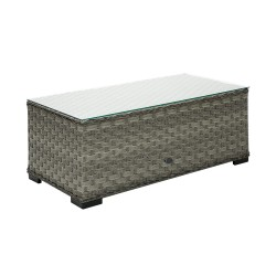 Coffee table GENEVA 105x51xH39cm, table top  5mm clear glass, aluminum frame with plastic wicker, color  grey