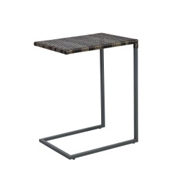 Side table WICKER 51x40xH65,5cmcm, table top  plastic wicker, color  dark brown, steel frame, color  grey