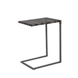 Side table WICKER 47,5x35xH63cm, table top  plastic wicker, color  dark brown, steel frame, color  grey
