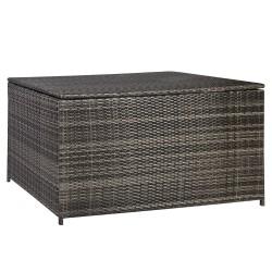Cushion box WICKER 140x80x65cm, steel frame with plastic wicker, color  dark brown