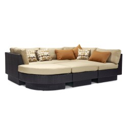 Sofa set STELLA with beige cushions, aluminum frame with plastic wicker, color  dark brown