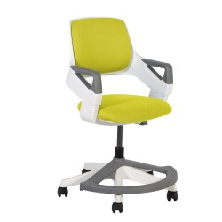 Children's chair ROOKEE for 4-14year 64x64xH76-93cm upholstered seat and backrest, color  yellow, white plastic shell