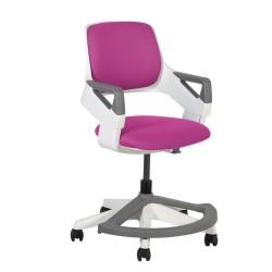 Children's chair ROOKEE for 4-14year 64x64xH76-93cm upholstered seat and backrest, color  pink, white plastic shell