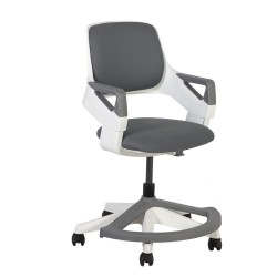 Children's chair ROOKEE for 4-14year 64x64xH76-93cm upholstered seat and backrest, color  grey, white plastic shell