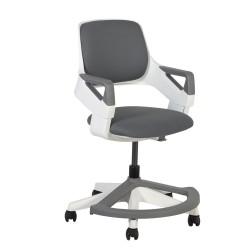 Lastetool ROOKEE 4-14a lastele 64x64xH76-93cm polsterdatud iste ja seljatugi, värvus: hall, valge plastkorpus