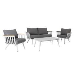 Aiamööblikomplekt HARVEST laud, diivan ja 2 tooli, valge alumiiniumraam, hallid padjad
