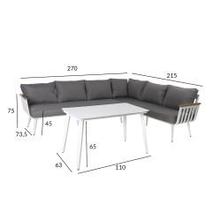 Aiamööblikomplekt HARVEST laud ja nurgadiivan, valge alumiiniumraam, hallid padjad