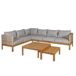 Aiamööbli komplekt CAPTAIN patjadega, nurgadiivan ja 2 lauda, värvus: hallikasbeež / tiikpuu