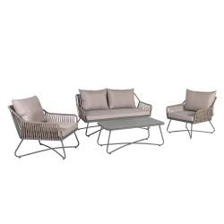 Aiamööblikomplekt ANDROS patjadega, laud, diivan ja 2 tooli, terasraam nöörpunutisega, värvus: hall / taupe