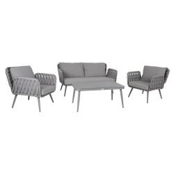 Aiamööblikomplekt ASCONA laud, diivan ja 2 tooli, hall alumiiniumraam nöörpunutisega, hallid padjad