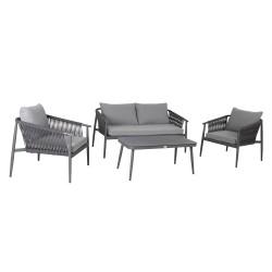 Aiamööblikomplekt WEILBURG laud, diivan ja 2 tooli, hall alumiiniumraam nöörpunutisega, hallid padjad