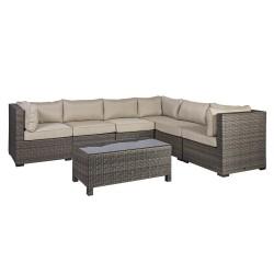 Komplekt SEVILLA patjadega, nurgadiivan ja laud 102x50,5xH43,5cm, alumiiniumraam plastikpunutisega, värvus: tumepruun