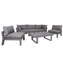 Komplekt FLUFFY laud, diivan ja 2 tooli (13793+2x13792+3x13791) tumehall