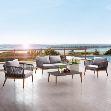 Aiamööblikomplekt STRING  laud, diivan ja 2 tooli, puiduvärvi alumiiniumraam halli nöörpunutisega, hallid padjad