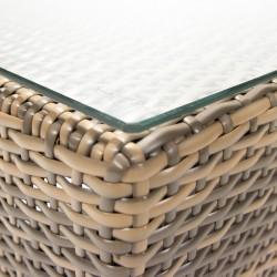 Diivanilaud SEVILLA 102x50,5xH43,5cm, lauaplaat  5mm klaas, alumiiniumraam plastikpunutisega, värvus  cappuccino