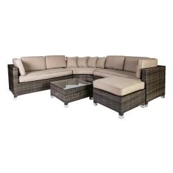 Garden furniture set DAWSON with cushions, table, corner sofa and ottoman, steel frame, color  dark brown