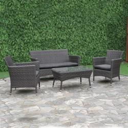 Aiamööblikomplekt WATERS laud, diivan ja 2 tooli, terasraam halli plastikpunutisega, hallid padjad