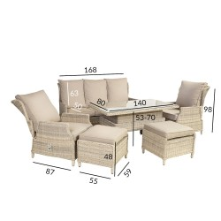 Garden furniture set BASEL table, sofa, 2 chairs and 2 ottomans, aluminum frame with plastick wicker, color beige