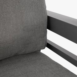 Aiamööblikomplekt TOMSON laud, diivan ja 2 tooli, tumehall alumiiniumraam, hallid padjad