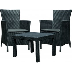 Set Rosario table and 2 chairs with cushion, graphite