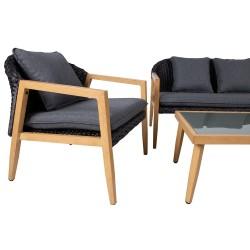 Komplekt ERFURT laud, diivan ja 2 tooli, alumiiniumraam musta plastikpunutisega