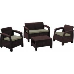 Set Corfu table, sofa and 2 chairs with cushion, brown