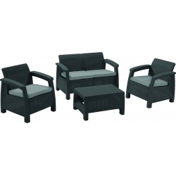 Set Corfu table, sofa and 2 chairs with cushion, graphite grey