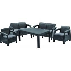 Keter aiamööbli komplekt Corfu Fiesta laud, 2 diivanit ja 2 tooli patjadega, graphite
