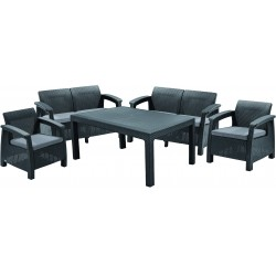 Set Corfu Fiesta table, 2 sofas and 2 chairs with cushion, grey