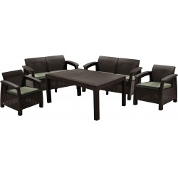 Set Corfu Fiesta table, 2 sofas and 2 chairs with cushion, brown