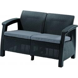 Sofa Corfu 2-seater, with cushion, grey