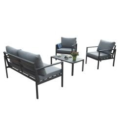 Aiamööblikomplekt ADRIO laud, diivan ja 2 tooli, tumehall