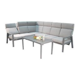 Aiamööblikomplekt CASTEN laud ja nurgadiivan, tumehall