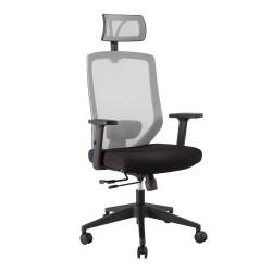 Töötool JOY 64x64xH115-125cm, iste  kangas, seljatugi  võrkkangas, värvus  must   hall