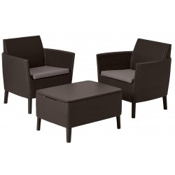 Garden furniture set Salemo table and 2 chairs with cushion, brown