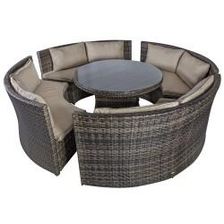 Aiamööbli komplekt VENETO patjadega, laud ja 4 pinki, alumiiniumraam plastikpunutisega, värvus  tumepruun