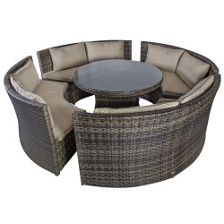 Garden furniture set VENETO with cushions, table and 4 benches, aluminum frame with plastic wicker, color  dark brown