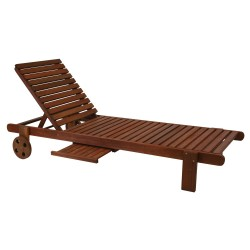 Deck chair MALAY with tray, 196x61xH80cm, wood  meranti, finish  oiled