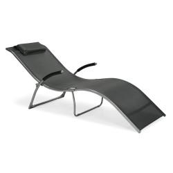 Deck chair BATYA 173x63x65cm, foldable, seat  textiline, color  grey, steel frame