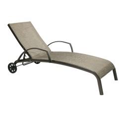 Deck chair MONTREAL-2 73x196x99cm, seat  textiline, color  beige, aluminum frame, color  brown
